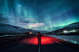 Man Standing Inside Road 4k Wallpaper