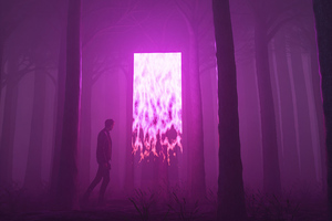 Man Walking Away From Forest Portal 5k Wallpaper