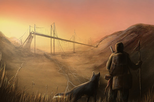 Man With Dog Fantasy Looking Away Wallpaper