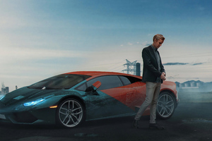 Man With Lamborghini Digital Art 5k Wallpaper