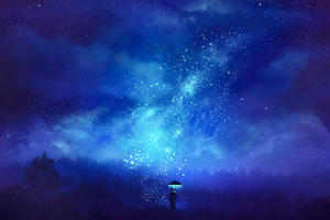 Man With Umbrella Starscape Wallpaper
