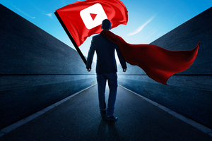 Man With Youtube Flag