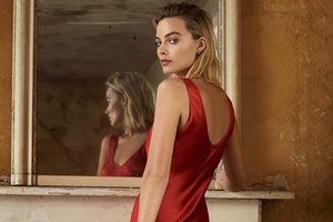 Margot Robbie In Red Dress Photoshoot For Evening Standarad Wallpaper