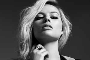 Margot Robbie Monochrome 5k Wallpaper