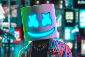 Marshmello Neon 4k Wallpaper