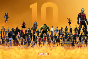 Marvel Superheroes 10 Year Anniversary Artwork Wallpaper