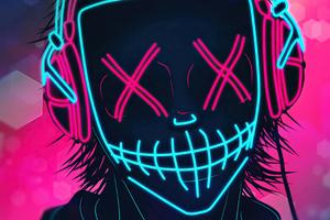 Mask Boy Listening Music Neon 4k