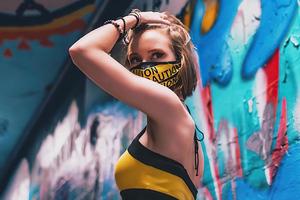 Mask Girl Posing 4k Wallpaper