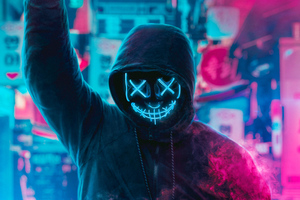 Mask Guy Neon Eye Wallpaper