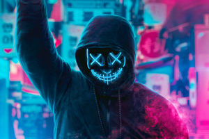 Mask Guy Neon Man With Smoke Bomb 4k Wallpaper