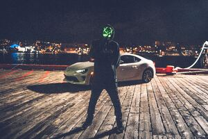 Mask Man With Car Wallpaper