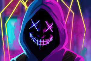 Mask Neon Guy Wallpaper