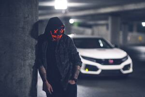Mask Neon Inked With Car 5k Wallpaper