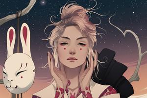 Mask Off Asian Girl 5k Wallpaper