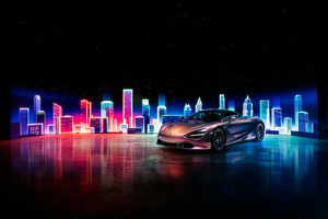 Mclaren 720s Neon Buidings 4k