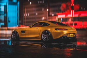 Mercedes Amg Yellow 4k
