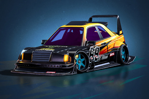 Mercedes Benz E190 Evolution II 1990 Cartoon Cars