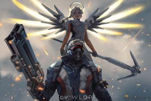 Mercy And Soldier 76 Overwatch Artwork Wallpaper