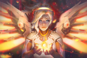 Mercy Angel Overwatch Fantasy Wallpaper