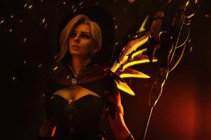 Mercy Overwatch Witch Cosplay 4k Wallpaper