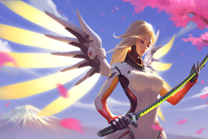 Mercy Overwatch With Genji Sword 4k Wallpaper