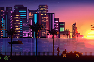 Miami Sunset Artistic 4k Wallpaper