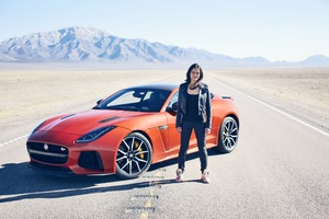 Michelle Rodriguez With Jaguar F Type Wallpaper