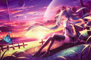 Miku Anime Girl Dreamy Fantasy Colorful Artwork