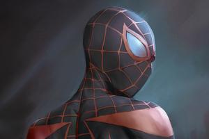 Miles Morales Black Suit 4k