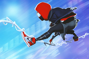 Miles Morales Jumping 4k Wallpaper