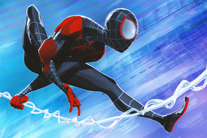 Miles Morales Jumping 4k Artwork Wallpaper