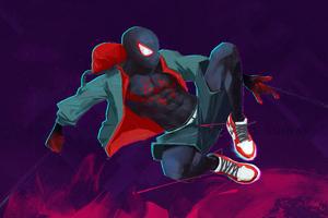 Miles Morales Jumping Art 4k