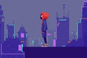 Miles Morales Pixel Art Wallpaper