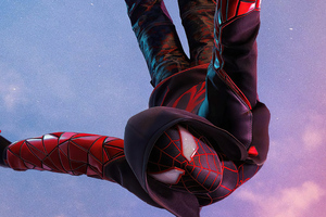 Miles Morales Ps5 Spiderman Jump 4k Wallpaper