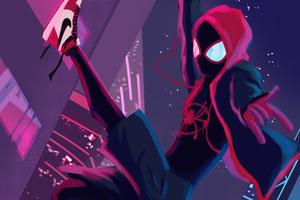 Miles Morales Spiderverse Swing Wallpaper