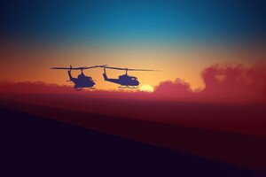 Military Helicopters Minimalsm Wallpaper