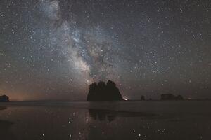 Milky Way Over Olympic National Park Coast 4k