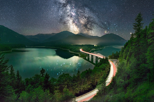 Milky Way Road Long Exposure 5k Wallpaper