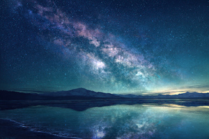 Milky Way Sky Blue Lake 5k Wallpaper
