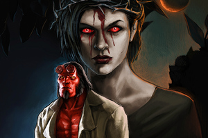 Milla Jovovich Blood Queen In Hellboy Art Wallpaper