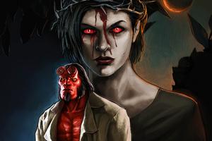 Milla Jovovich Blood Queen In Hellboy Art