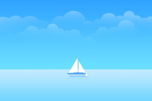 Minimal Boat Ocean 8k Wallpaper