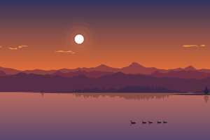 Minimal Lake Sunset Wallpaper