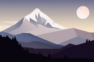 Minimal Mountains Landscape 4k