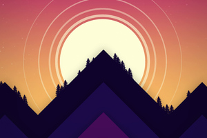 Minimal Sun Mountains 5k Wallpaper
