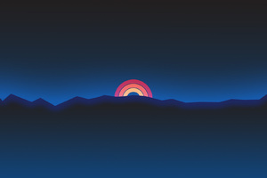 Minimalism Neon Rainbow Sunset Retro Style