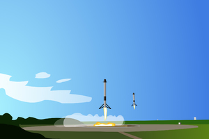 Minimalist Falcon Heavy Landing Artwork Wallpaper