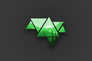 Minimalist Mountains Green 4k Wallpaper