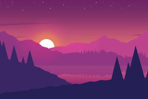 Minimalist Mountains Landscape Scenery