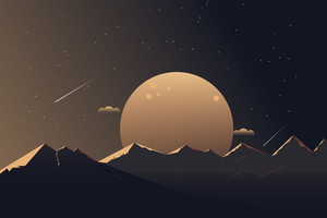 Minimalist Mountains Night 4k